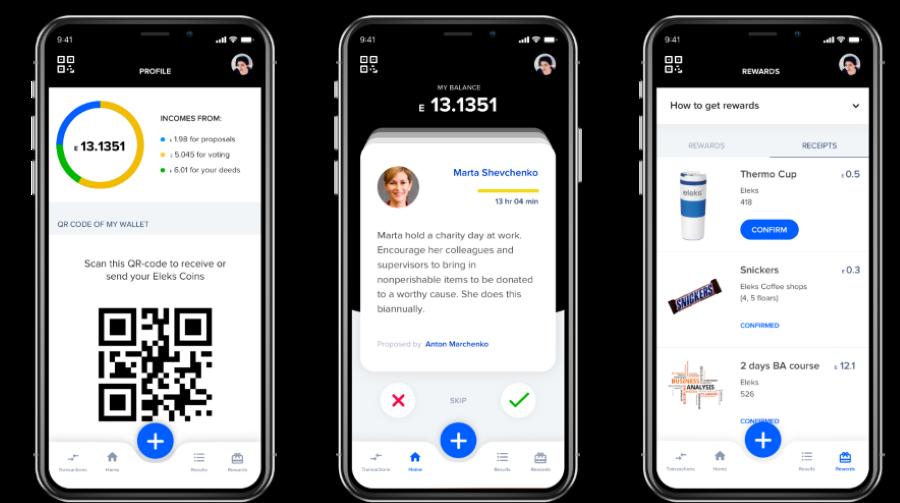 Screenshots of employee reward system block-chain app on an iphone